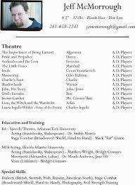 Sample Resume For Photographer Theater Acting Resume Example Resumecompanioncom Child Model