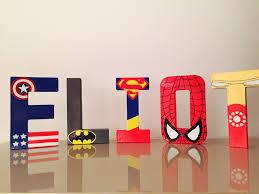lettres décoratives chambre bébé lettres décoratives personnalisées thème héros 20 cm