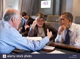 Air Force One Interior Us President Barack Obama Talks With Interior Secretary Ken
