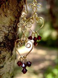 Garnet Chandelier Earrings Handmade Beaded Chandelier Earrings