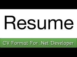Junior Net Developer Resume Sample by Sample Cv Format For Net Developer Resume Youtube