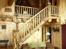 log cabin custom stairs and rails rustic ozark log cabins