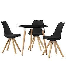 essgruppe küche en casa esstisch rund schwarz ø80cm mit 3 stühlen schwarz