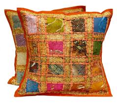 40x40 Cushion Insert 2 Pieces Indian Saree Patch Work Cushion Cover Pillow Set Vintage