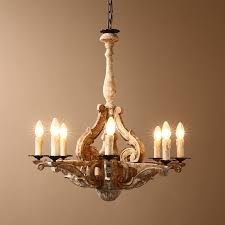 French Wooden Chandelier French Country Aged Gold Scrollwork Distressed Wood 6 Light Candle