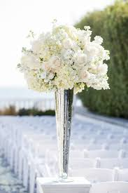 how to decorate vases tall white rose and hydrangea centerpiece in a silver lined vase