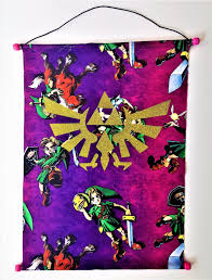 legend of zelda triforce tapestry geeky wall hanging banner