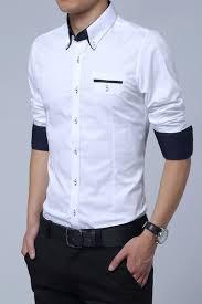 white cotton squared off collar classic mens shirt colour