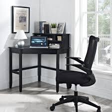 unique black small corner laptop desk with standing rack elegant