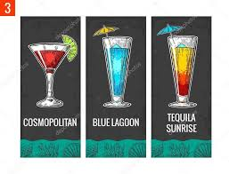 vintage cocktail party illustration alcohol cocktail set cosmopolitan blue lagoon and tequila