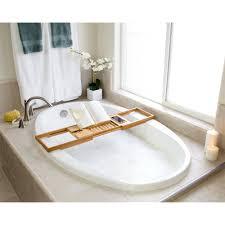 bathtub caddy with book holder amazon com bellasentials bamboo bathtub caddy bathroom organizer