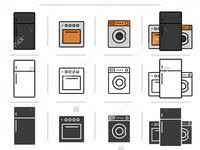 kitchen appliances icons set household consumer stock vector