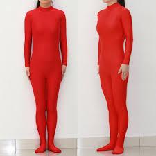 red lycra spandex zentai suit cosplay halloween catsuit tights