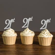 cupcake toppers gold silver black glitter twenty cupcake toppers 21st
