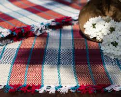 table runner placemat set madur kathi natural fibre red and blue checks placemats table