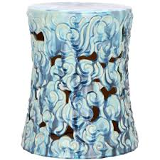 blue ceramic garden stool carilo blue garden stool crate and