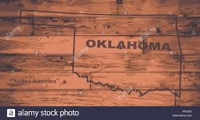 Oklahoma State Map Oklahoma State Map Brand On Wooden Boards With Map Outline And