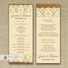 burlap wedding programs burlap and lace damask faux ribbon programs rack card template