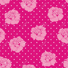 Pink Tile Seamless Vector Floral Pattern With Pink And White Roses On Sweet