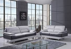 black leather living room set modern house u7330 sofa in light dark grey bonded leather by global