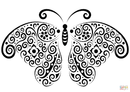 butterfly tattoo coloring free printable coloring pages