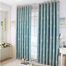 White And Teal Curtains Blue Sky And White Clouds Printing Blue Curtains For Bedroom