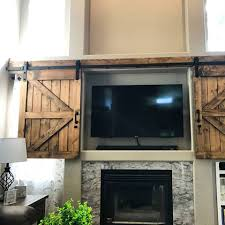 Barn Door Cabinet Hardware by Hidden Sliding Tv Barn Door Set Rustic Tv Barn Door