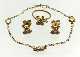 bracelet with ring set images Teddy bear gold enamel bracelet earrings ring set ring inner jpg