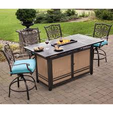 High Patio Dining Set - traditions 5 piece high dining bar set in blue with 30 000 btu