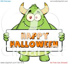 clipart of a cartoon chubby green horned monster holding a happy