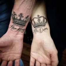 tattoo of queen and king 61 cute couple tattoos that will warm your heart wrist tattoo