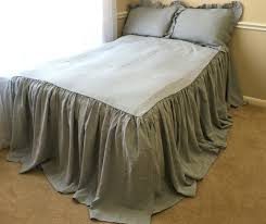 Ruffled Comforter Bedspread Linen Ruffle Bed Cover White Grey Cream Pink Blue