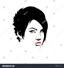 womans face sketched beautiful face stock vector 433363684