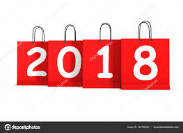 new year shopping shopping bags with 2018 new year sign 3d rendering stock photo