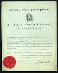 proclamation of thanksgiving day in rhode island providence