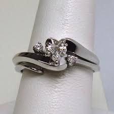 Heart Wedding Rings by 14k White Gold Two Piece Heart Shape Diamond Wedding Ring