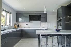 projects contemporary kitchens belfast northern ireland contemporary grey gloss kitchen belfast