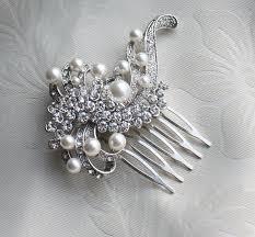 bridal pearls hair brooch for wedding vintage