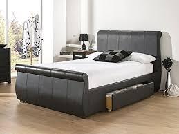 snuggle beds alabama black faux leather sprung slatted 6ft super