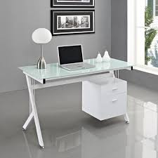 Wooden Office Table Design White Glass Computer Desk Pc Table Home Office Minimalist Desk