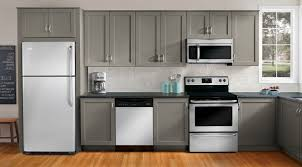 gray kitchen cabinets with white appliances kitchen and decor