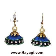 jhumka earrings online silk resham thread blue jhumka earrings online hayagi