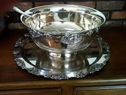 punch bowl vintage wallace silver plated punch bowl and tray set in harvest