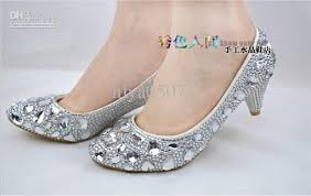 wedding shoes low heel pumps 2013 high quality silver wedding shoes diamond rhinestone