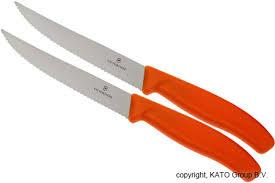 victorinox swissclassic pizza steak knife orange set of 2 6 7936