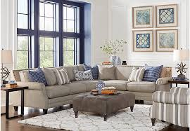 Sectional Living Room | piedmont gray 3 pc sectional living room living room sets gray