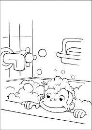 print u0026 download curious george take a bath coloring pages