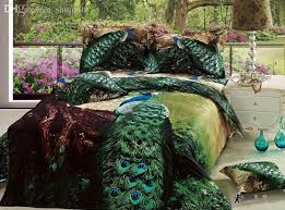 wholesale 3d green peacock bird feather print bedding comforter