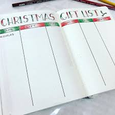 gift list christmas gift list spread for bullet journal see this instagram