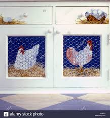 Faux Kitchen Cabinets Kitchens Faux Painted Chickens Behind Painted Chicken Wire On